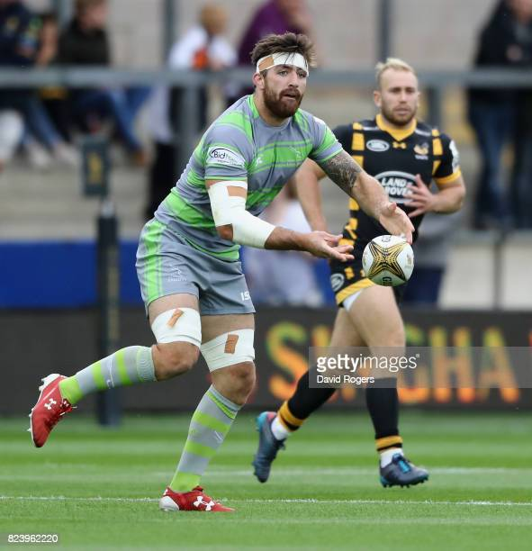 Gary Graham of Newcastle Falcons passes the ball during the Singha Premiership Rugby 7s Series Day One at Franklin's Gardens on July 28 2017 in...