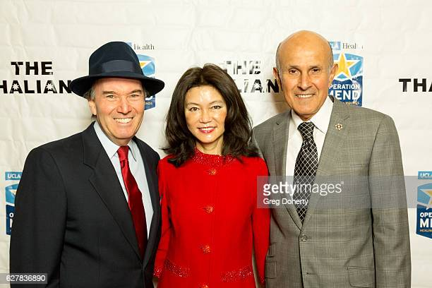 "Gary Greene, Carol Chiang and Former LA Sheriff Lee Baca arrive for The Thalians Presidents Club's ""Holiday Brunch Spectacular"" at Montage Beverly..."