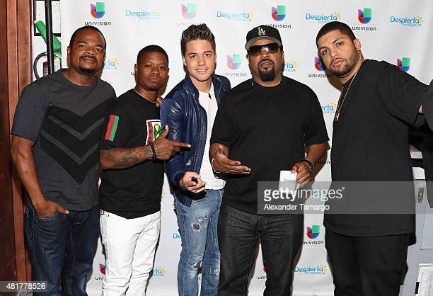 Gary Grey Jason Mitchell William Valdes Ice Cube and O'Shea Jackson Jr visit the set of Despierta America to promote his film Straight Outta Compton...