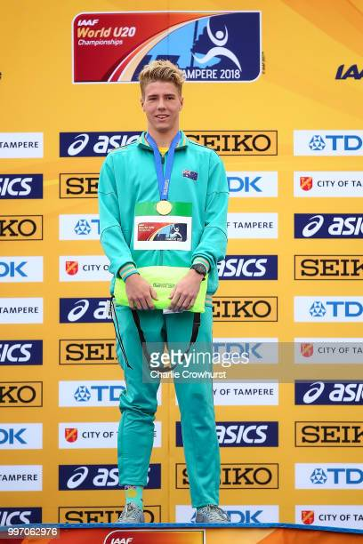 Gary Haasbroek of Australia receives his gold medal during the medal ceremony for the men's decathlon on day three of The IAAF World U20...