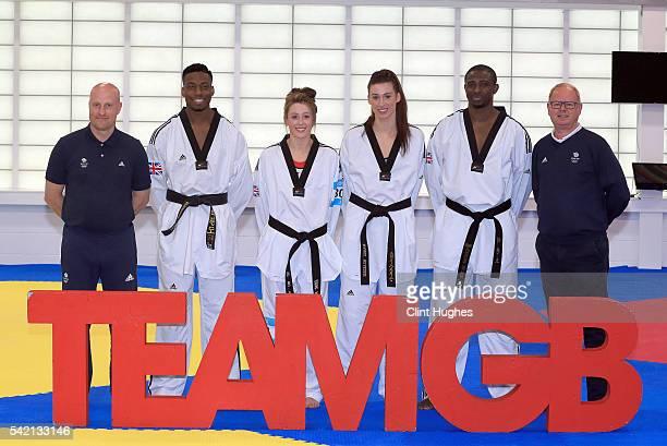 Gary Hall GB Taekwondo Performance Director Lutalo Muhammad Jade Jones Bianca Walkden Mahama Cho and Mark England Team GB's Chef de Mission pose for...