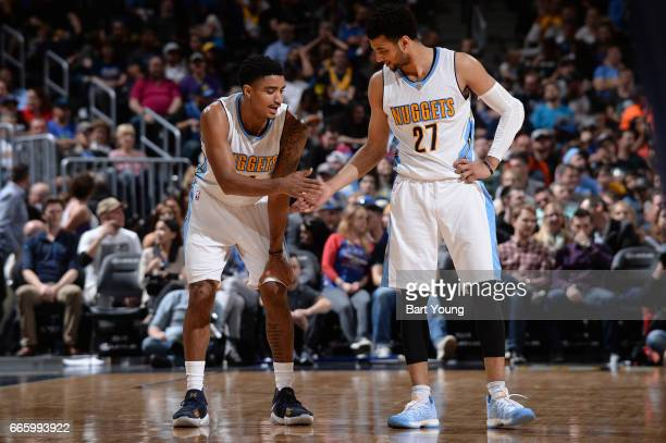 Gary Harris and Jamal Murray of the Denver Nuggets are seen during the game against the New Orleans Pelicans on April 7 2017 at the Pepsi Center in...