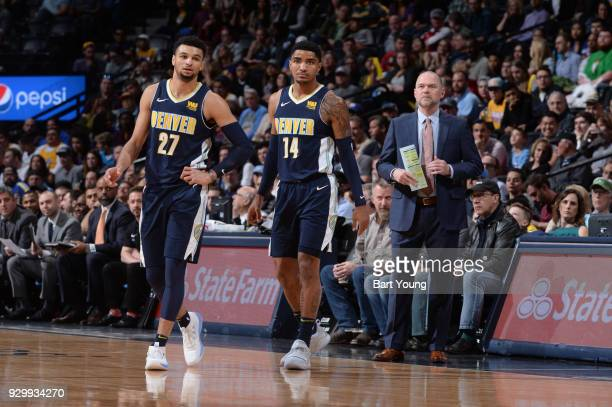 Gary Harris of the Denver Nuggets and Jamal Murray of the Denver Nuggets look on during the game against the Los Angeles Lakers on March 9 2018 at...