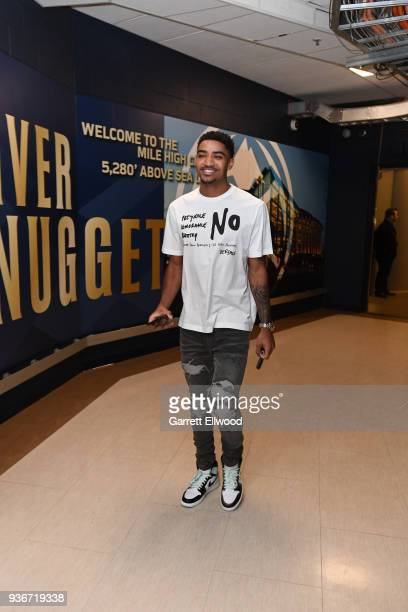 Gary Harris of the Denver Nuggets arrives before the game against the Denver Nuggets on March 15 2018 at the Pepsi Center in Denver Colorado NOTE TO...