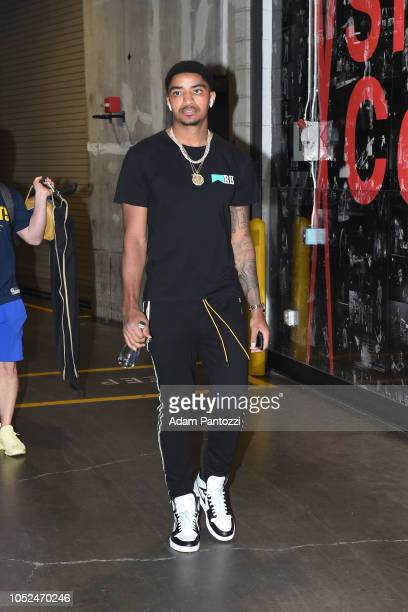Gary Harris of the Denver Nuggets arrives to the arena before a game against the LA Clippers on October 17 2018 at Staples Center in Los Angeles...