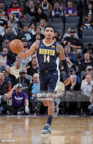 Gary Harris of the Denver Nuggets brings the ball up the court against the Sacramento Kings on November 20 2017 at Golden 1 Center in Sacramento...