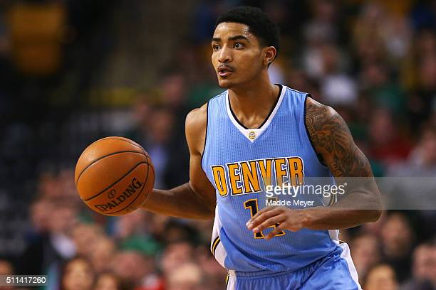 Gary Harris of the Denver Nuggets carries the ball against the Boston Celtics during the second quarter at TD Garden on January 27 2016 in Boston...