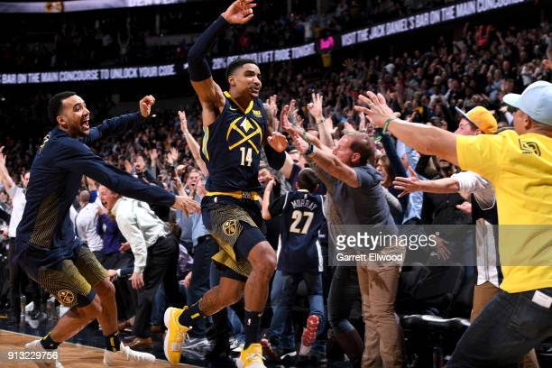 Gary Harris of the Denver Nuggets celebrates after hitting the game winning shot against the Oklahoma City Thunder on February 1 2018 at the Pepsi...