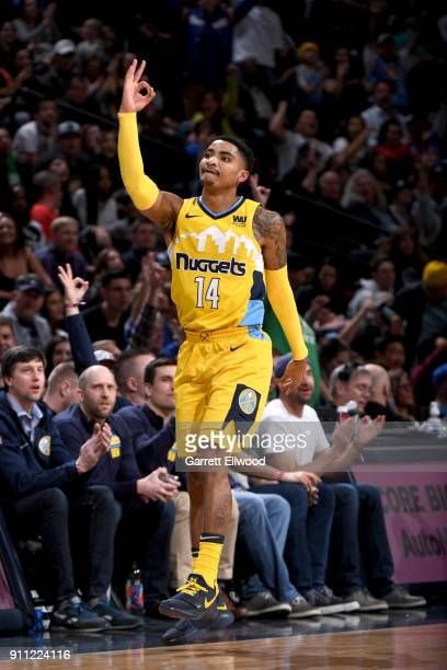 Gary Harris of the Denver Nuggets celebrates during the game against the Dallas Mavericks on January 27 2018 at the Pepsi Center in Denver Colorado...