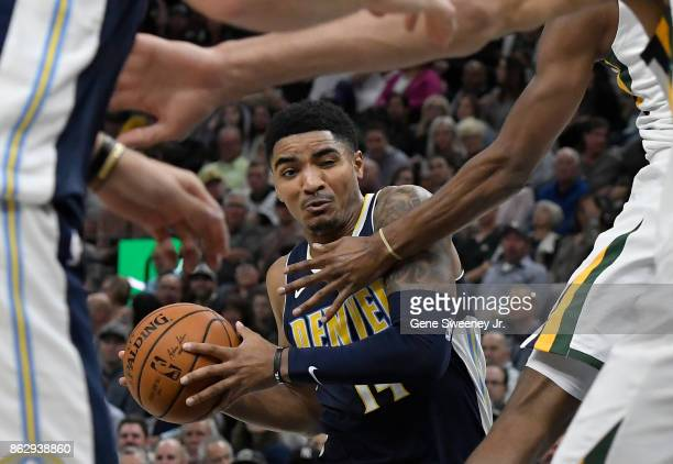 Gary Harris of the Denver Nuggets controls the ball in the second half of their 10696 loss to the Utah Jazz at Vivint Smart Home Arena on October 18...