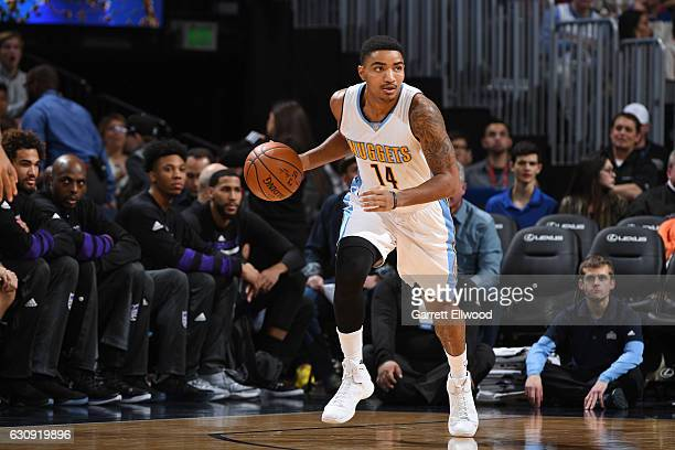 Gary Harris of the Denver Nuggets drives to the basket against the Sacramento Kings during the game on January 3 2017 at the Pepsi Center in Denver...