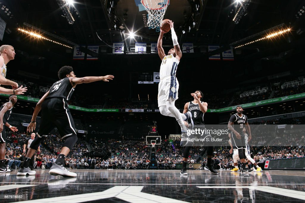 Gary Harris #14 of the Denver Nuggets drives to the basket against the Brooklyn Nets on October 29, 2017 at Barclays Center in Brooklyn, New York.