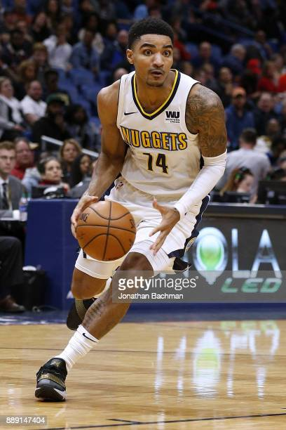 Gary Harris of the Denver Nuggets drives with the ball during the second half of a game against the New Orleans Pelicans at the Smoothie King Center...