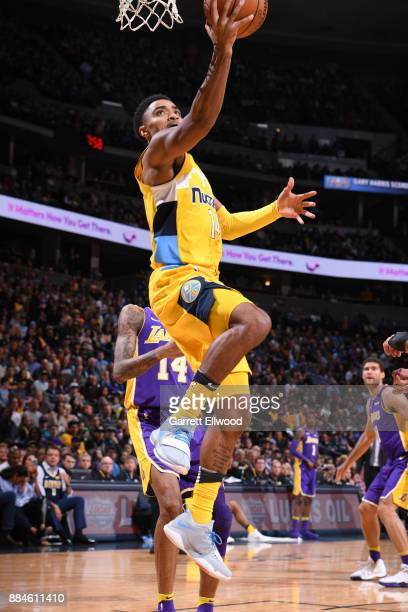 Gary Harris of the Denver Nuggets goes to the basket against the Los Angeles Lakers on December 2 2017 at the Pepsi Center in Denver Colorado NOTE TO...