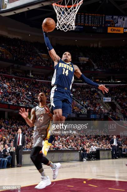 Gary Harris of the Denver Nuggets goes up for a dunk against the Cleveland Cavaliers on March 3 2018 at Quicken Loans Arena in Cleveland Ohio NOTE TO...