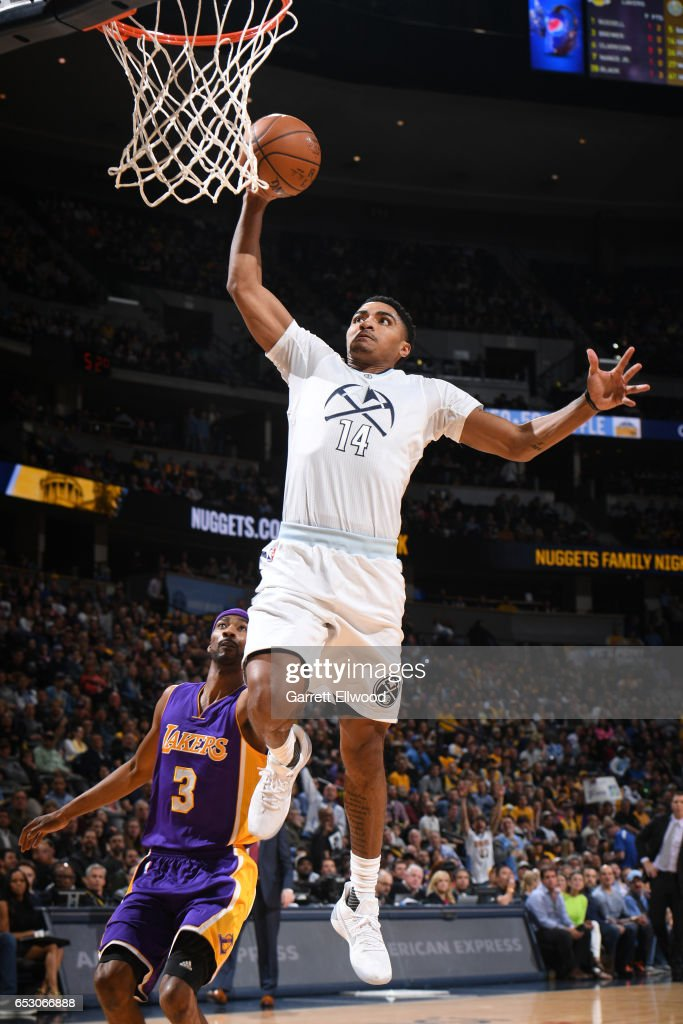 Gary Harris #14 of the Denver Nuggets goes up for a dunk during a game against the Los Angeles Lakers on March 13, 2017 at the Pepsi Center in Denver, Colorado.