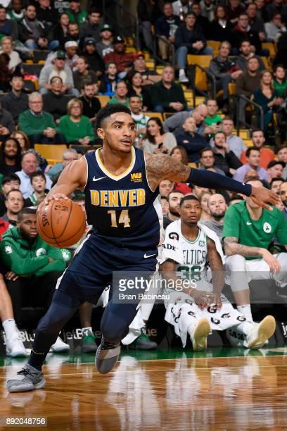 Gary Harris of the Denver Nuggets handles the ball against the Boston Celtics on December 13 2017 at the TD Garden in Boston Massachusetts NOTE TO...