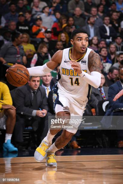 Gary Harris of the Denver Nuggets handles the ball against the Boston Celtics on January 29 2018 at the Pepsi Center in Denver Colorado NOTE TO USER...