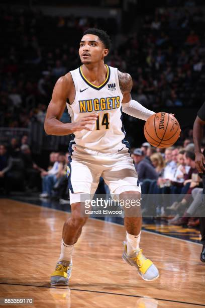 Gary Harris of the Denver Nuggets handles the ball against the Chicago Bulls on November 30 2017 at the Pepsi Center in Denver Colorado NOTE TO USER...