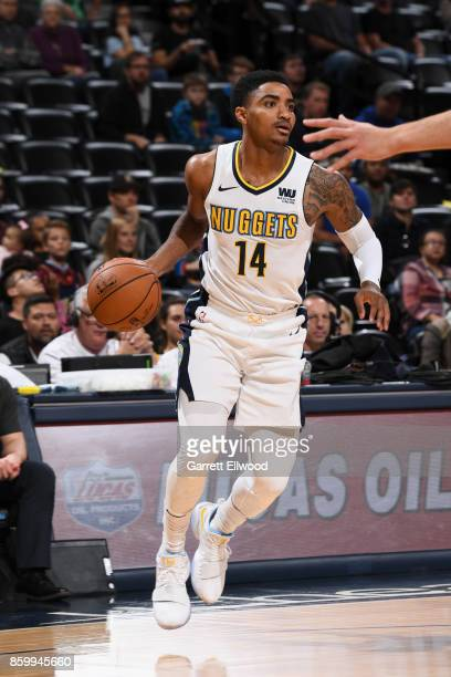Gary Harris of the Denver Nuggets handles the ball against the Oklahoma City Thunder on October 10 2017 at the Pepsi Center in Denver Colorado NOTE...