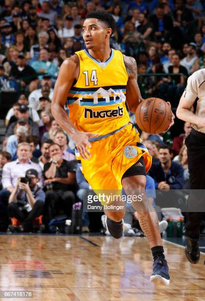 Gary Harris of the Denver Nuggets handles the ball against the Dallas Mavericks during the game on April 11 2017 at the American Airlines Center in...