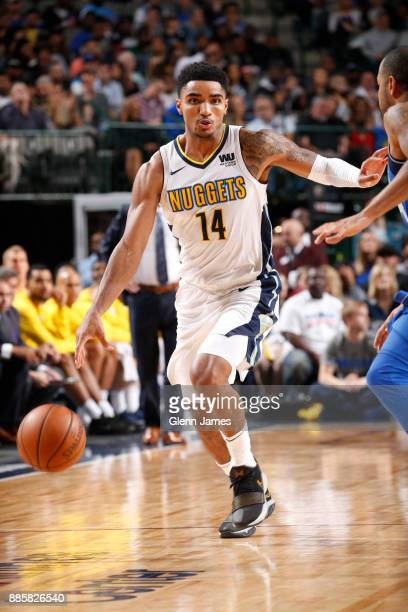 Gary Harris of the Denver Nuggets handles the ball against the Dallas Mavericks on December 4 2017 at the American Airlines Center in Dallas Texas...
