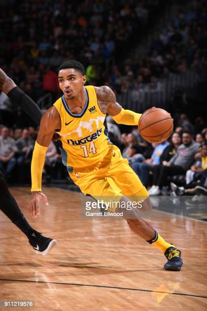 Gary Harris of the Denver Nuggets handles the ball against the Dallas Mavericks on January 27 2018 at the Pepsi Center in Denver Colorado NOTE TO...
