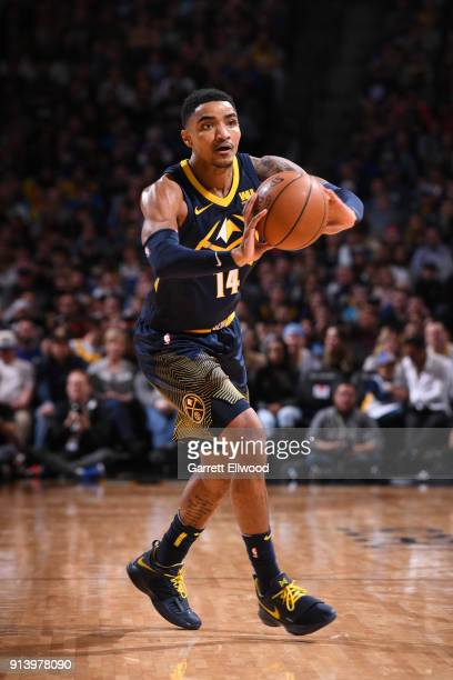 Gary Harris of the Denver Nuggets handles the ball against the Golden State Warriors on February 3 2018 at the Pepsi Center in Denver Colorado NOTE...