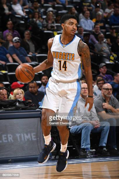Gary Harris of the Denver Nuggets handles the ball against the New Orleans Pelicans on April 7 2017 at the Pepsi Center in Denver Colorado NOTE TO...