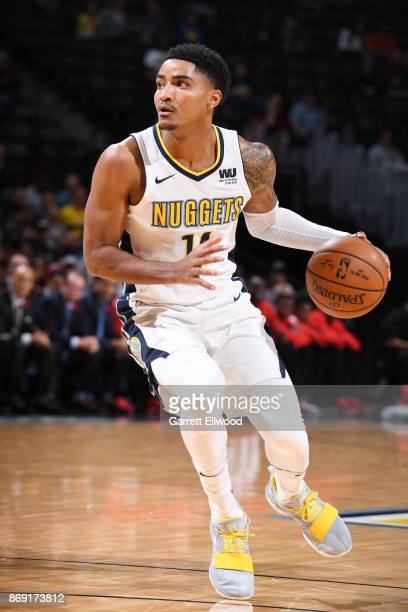 Gary Harris of the Denver Nuggets handles the ball against the Toronto Raptors on November 1 2017 at the Pepsi Center in Denver Colorado NOTE TO USER...