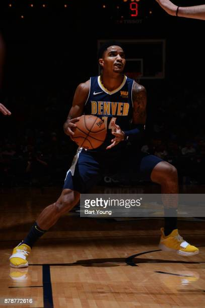 Gary Harris of the Denver Nuggets handles the ball against the Memphis Grizzlies on November 24 2017 at the Pepsi Center in Denver Colorado NOTE TO...
