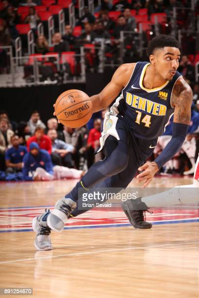 Gary Harris of the Denver Nuggets handles the ball against the Detroit Pistons on December 12 2017 at Little Caesars Arena in Detroit Michigan NOTE...