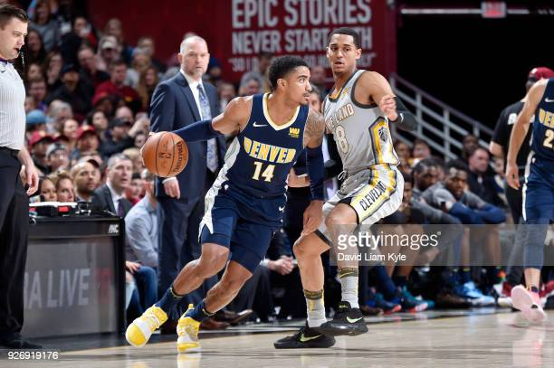 Gary Harris of the Denver Nuggets handles the ball against the Cleveland Cavaliers on March 3 2018 at Quicken Loans Arena in Cleveland Ohio NOTE TO...