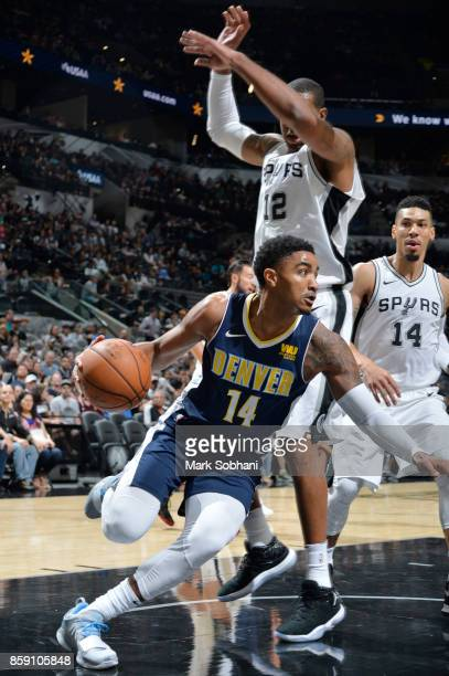Gary Harris of the Denver Nuggets handles the ball against the San Antonio Spurs during the preseason game on October 8 2017 at the ATT Center in San...