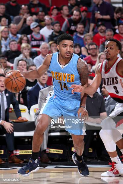 Gary Harris of the Denver Nuggets handles the ball against the Portland Trail Blazers on March 28 2017 at the Moda Center in Portland Oregon NOTE TO...