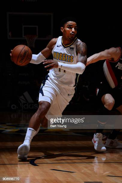 Gary Harris of the Denver Nuggets handles the ball against the Portland Trail Blazers on January 22 2018 at the Pepsi Center in Denver Colorado NOTE...