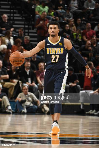 Gary Harris of the Denver Nuggets handles the ball against the Utah Jazz during the game on October 18 2017 at vivintSmartHome Arena in Salt Lake...