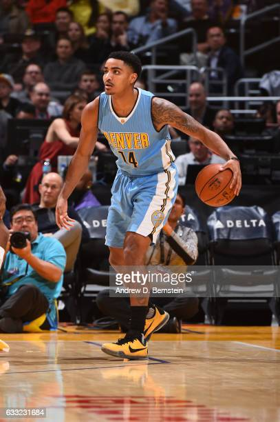 Gary Harris of the Denver Nuggets handles the ball during a game against the Los Angeles Lakers on January 31 2017 at STAPLES Center in Los Angeles...