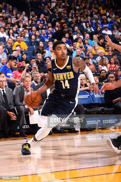 Gary Harris of the Denver Nuggets handles the ball during the game against the Golden State Warriors during a preseason game on September 30 2017 at...