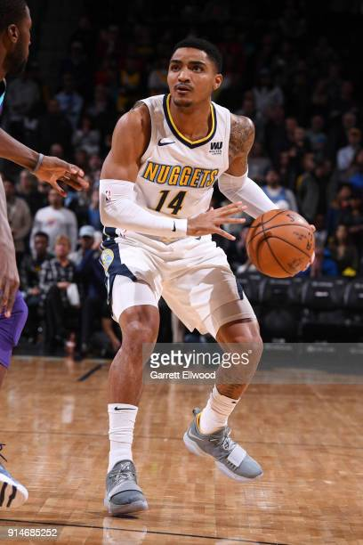 Gary Harris of the Denver Nuggets handles the ball during the game against the Charlotte Hornets on February 5 2018 at the Pepsi Center in Denver...