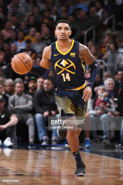 Gary Harris of the Denver Nuggets handles the ball during the game against the Cleveland Cavaliers on March 7 2018 at the Pepsi Center in Denver...