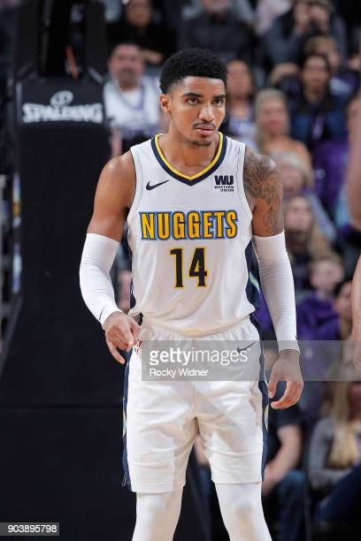 Gary Harris of the Denver Nuggets looks on during the game against the Sacramento Kings on January 6 2018 at Golden 1 Center in Sacramento California...