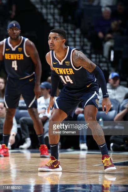 Gary Harris of the Denver Nuggets on guard against the Minnesota Timberwolves on November 10, 2019 at Target Center in Minneapolis, Minnesota. NOTE...