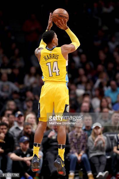 Gary Harris of the Denver Nuggets puts up a shot against the Dallas Mavericks at the Pepsi Center on January 27 2018 in Denver Colorado NOTE TO USER...