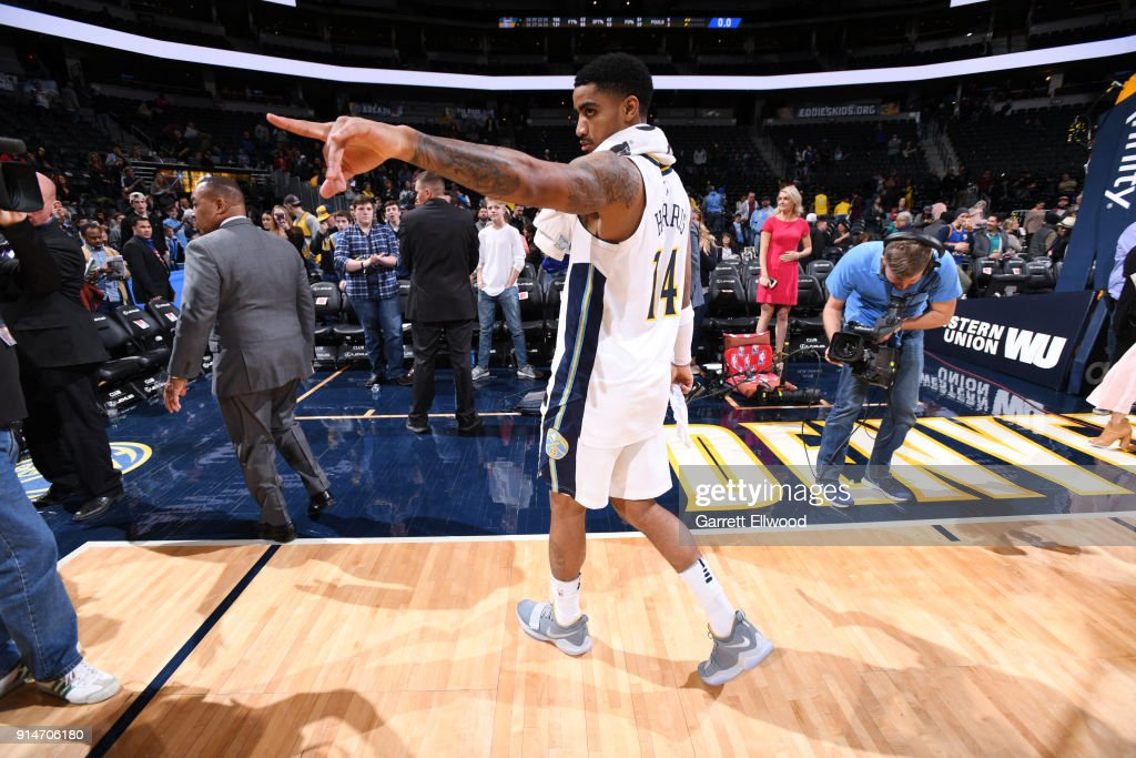 Gary Harris #14 of the Denver Nuggets reacts after the game against the Charlotte Hornets on February 5, 2018 at the Pepsi Center in Denver, Colorado.