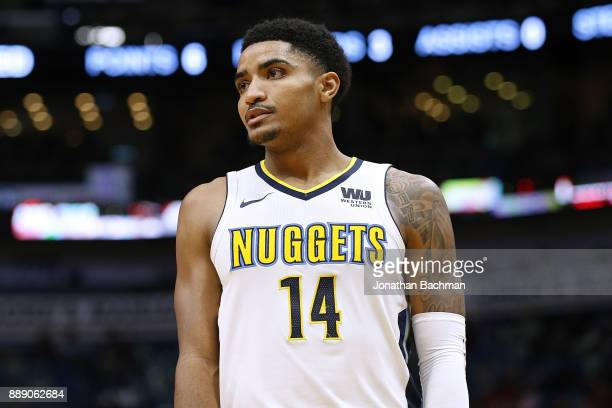 Gary Harris of the Denver Nuggets reacts during the second half of a game against the New Orleans Pelicans at the Smoothie King Center on December 6...