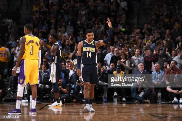 Gary Harris of the Denver Nuggets reacts to a play during the game against the Los Angeles Lakers on March 9 2018 at the Pepsi Center in Denver...