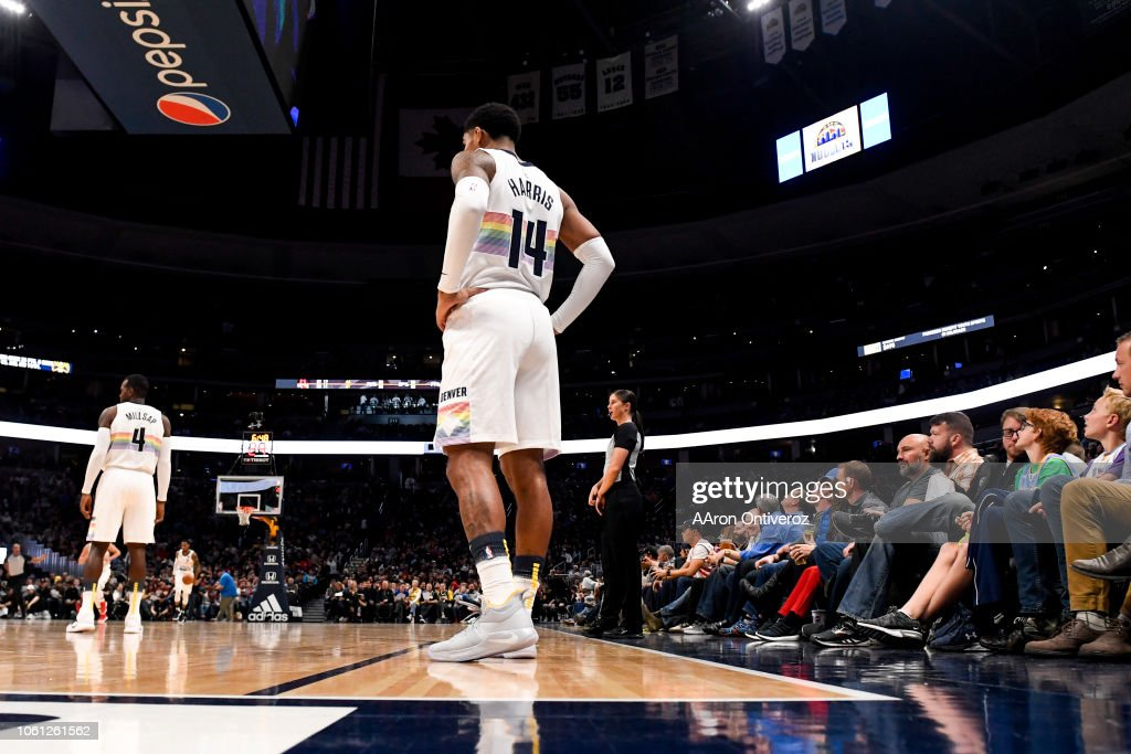 Gary Harris of the Denver Nuggets rocks a rainbow jersey during the ... 6a4efae00