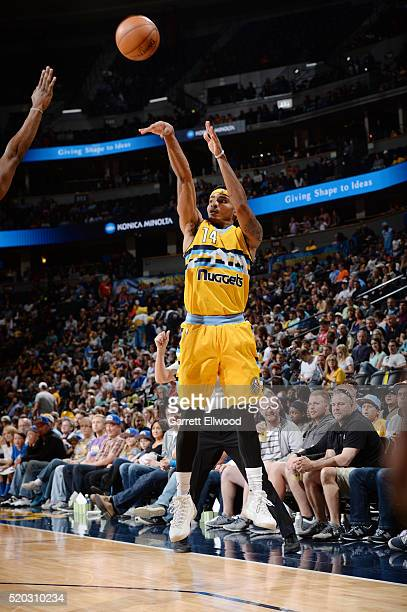 Gary Harris of the Denver Nuggets shoots against the Utah Jazz during the game on April 10 2016 at Pepsi Center in Denver Colorado NOTE TO USER User...