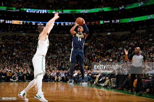 Gary Harris of the Denver Nuggets shoots the ball against the Boston Celtics on December 13 2017 at the TD Garden in Boston Massachusetts NOTE TO...